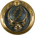 "Music Memorabilia:Autographs and Signed Items, Grateful Dead Steal Your Face Medallion by Owsley ""Bear"" Stanley (c. 1993)...."