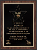 Movie/TV Memorabilia:Awards, An Ann Miller Award, 1998....
