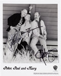 Music Memorabilia:Autographs and Signed Items, Peter, Paul, and Mary Signed Black and White Photograph (c.1998)....