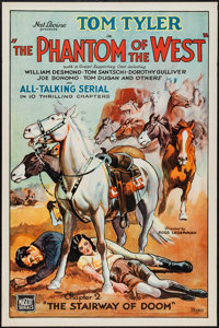 """The Phantom of the West (Mascot, 1931). One Sheet (27"""" X 41"""") Chapter 2 --""""The Stairway of Doom."""" Se..."""