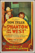 "Movie Posters:Serial, The Phantom of the West (Mascot, 1931). One Sheet (27"" X 41"") Chapter 4 --""The Battle of the Strong."" Serial.. ..."