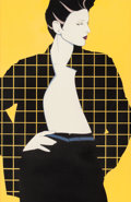 Pin-up and Glamour Art, PATRICK NAGEL (American, 1945-1984). Geometric Plaid.Acrylic on board. 35 x 22.75 in. (sight). Not signed. ...