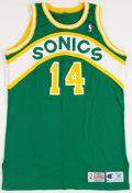 Basketball Collectibles:Uniforms, 1993-94 Sam Perkins Game Issued Seattle Supersonics Jersey....