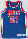 Basketball Collectibles:Uniforms, 1993-94 Kevin Edwards Game Worn New Jersey Nets Jersey andShorts....