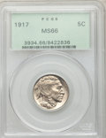 Buffalo Nickels: , 1917 5C MS66 PCGS. PCGS Population (160/17). NGC Census: (52/6).Mintage: 51,424,020. Numismedia Wsl. Price for problem fre...