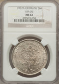 Germany: , Germany: Weimar Republic 5 Mark 1932-A MS62 NGC,...