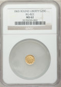 California Fractional Gold: , 1865 25C Liberty Round 25 Cents, BG-822, R.4, MS62 NGC. NGC Census:(9/3). PCGS Population (20/18). ...