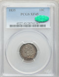 Bust Dimes: , 1835 10C XF45 PCGS. CAC. PCGS Population (83/362). NGC Census:(24/368). Mintage: 1,410,000. Numismedia Wsl. Price for prob...