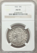 Bust Half Dollars: , 1832 50C Small Letters AU55 NGC. NGC Census: (202/729). PCGSPopulation (356/665). Mintage: 4,797,000. Numismedia Wsl. Pric...