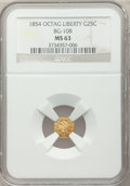 California Fractional Gold: , 1854 25C Liberty Octagonal 25 Cents, BG-108, Low R.4, MS63 NGC. NGCCensus: (12/1). PCGS Population (32/24). ...