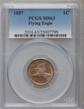 Flying Eagle Cents: , 1857 1C MS63 PCGS. PCGS Population (798/1198). NGC Census:(539/1169). Mintage: 17,450,000. Numismedia Wsl. Price for probl...