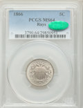 Shield Nickels: , 1866 5C Rays MS64 PCGS. CAC. PCGS Population (446/170). NGC Census:(541/193). Mintage: 14,742,500. Numismedia Wsl. Price f...