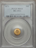 California Fractional Gold: , 1871 50C Liberty Round 50 Cents, BG-1011, R.2, MS64 PCGS. PCGSPopulation (56/36). NGC Census: (13/17). ...