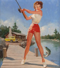 Pin-up and Glamour Art, GIL ELVGREN (American, 1914-1980). A Good Catch, NAPA Autoadvertisement. Oil on canvas. 30 x 27 in.. Signed lowerright...