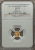 California Fractional Gold, 1870 25C Liberty Round 25 Cents, BG-808, R.3, MS66 NGC. NGC Census:(5/5). PCGS Population (15/3).. From The J.S. Morgan ...