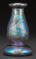 Art Glass:Other , A QUEZAL GLASS VASE WITH ALVIN SILVER OVERLAY. Circa 1900. Marks toglass: Quezal, 13. Marks to silver: A, 999-1000 FI...