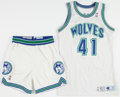 Basketball Collectibles:Uniforms, 1991 Thurl Bailey Game Worn Minnesota Timberwolves Jersey andShorts....