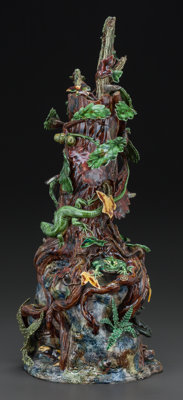 A FRENCH PALISSY WARE FIGURAL CENTERPIECE, Geoffrey Luff, Restigné, France, late 20th century Engraved: GL&lt...