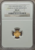 Expositions and Fairs, 1905 Lewis & Clark Exposition, 1/2 Oregon Gold, MS64 NGC.. From The J.S. Morgan Collection....