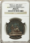 Expositions and Fairs, 1893 World's Columbian Exposition, Indiana Building, MS63 Prooflike NGC. Eglit-11. White metal, 37 mm....