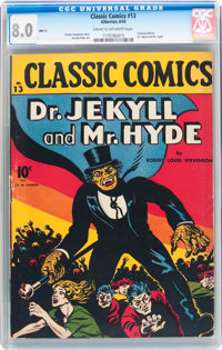 Classic Comics #13 Dr. Jekyll and Mr. Hyde - Original Edition (Gilberton, 1943) CGC VF 8.0 Cream to off-white pages