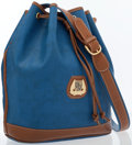 Luxury Accessories:Bags, Lancel Blue & Brown Leather Bucket Bag with Gold Hardware. ...