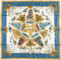 """Luxury Accessories:Accessories, Hermes 90cm Gold, Blue & White """"Pythagore,"""" by Zoé Pauwels SilkScarf. ..."""