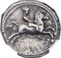 Ancients: CALABRIA. Tarentum. Ca. 390-385 BC. AR didrachm or nomos (21mm, 7.66 gm, 8h)