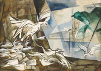 GEORGE GRAMMER (b. 1928) Gull Roost, 1951 Watercolor and gouache 14.5in. x 20in. Signed and dated lower right Title