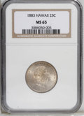 Coins of Hawaii: , 1883 25C Hawaii Quarter MS65 NGC. Nicely struck with thinreddish-gold and blue patina over the shining surfaces. A smalll...