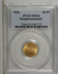Commemorative Gold: , 1926 $2 1/2 Sesquicentennial MS64 PCGS. The peach-gold surfaceshave apricot accents. Choice and lustrous with the usual so...