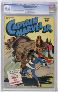 Captain Marvel Jr. #43 Crowley Copy pedigree (Fawcett, 1946) CGC NM+ 9.6 Cream to off-white pages. Bud Thompson cover. O...