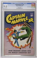 """Golden Age (1938-1955):Superhero, Captain Marvel Jr. #59 Crowley Copy pedigree (Fawcett, 1948) CGC VF/NM 9.0 Cream to off-white pages. Bears a """"Checking Copy""""..."""