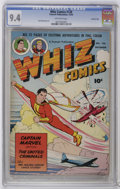 Golden Age (1938-1955):Science Fiction, Whiz Comics #128 Crowley Copy pedigree (Fawcett, 1950) CGC NM 9.4Off-white pages. Features a C. C. Beck cover and Kurt Scha...