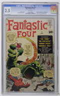 Silver Age (1956-1969):Superhero, Fantastic Four #1 (Marvel, 1961) CGC GD+ 2.5 White pages. We present the comic that started Marvel's Silver Age! To this day...
