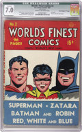 """Golden Age (1938-1955):Superhero, World's Finest Comics #2 Davis Crippen (""""D"""" Copy) pedigree (DC, 1941) CGC Qualified FN/VF 7.0 Cream to off-white pages. Don'..."""