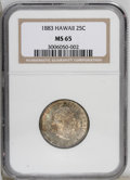 Coins of Hawaii: , 1883 25C Hawaii Quarter MS65 NGC. Dappled emerald, red, gold, andviolet patina covers the highly lustrous surfaces of this...