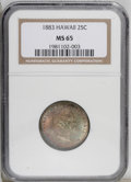 Coins of Hawaii: , 1883 25C Hawaii Quarter MS65 NGC. Red, gold, violet, and deep greentoning drapes this highly lustrous Gem. The obverse is ...