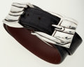 Luxury Accessories:Accessories, Kieselstein-Cord Black Crocodile Belt with Silver Buckle. ...