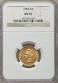 Three Dollar Gold Pieces: , 1854 $3 AU55 NGC. NGC Census: (803/2127). PCGS Population(709/1130). Mintage: 138,618. Numismedia Wsl. Price for problemf...