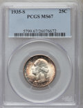 Washington Quarters: , 1935-S 25C MS67 PCGS. PCGS Population (29/0). NGC Census: (34/0).Mintage: 5,660,000. Numismedia Wsl. Price for problem fre...