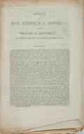 """Books:Americana & American History, [Slavery]. [Stephen A. Douglas]. Speech of Hon. Stephen A.Douglas, on the """"Measures of Adjustment,"""" Delivered in theCi..."""