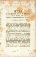 """Books:Americana & American History, [Slavery]. [Rev. G.W. Perkins]. Report of Remarks by Rev. G.W.Perkins, on Mr. Stuart's Book """"Conscience and the Constit..."""