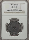 Chile, Chile: Republic Centavo 1853 MS63 Brown NGC,...