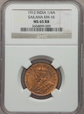 India:Sailana, India: Sailana. George V 1/4 Anna 1912 MS65 Red and Brown NGC,...