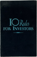 Books:Business & Economics, [Business]. A. Vere Shaw. 10 Rules for Investors. [NewYork]: Barron's, 1936. Twelvemo. 12 pages. Original printed w...