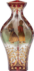 Art Glass:Other , AUSTRIAN ENAMELED AND GILT GLASS NARRATIVE VASE, 20th century.8-1/2 inches high (21.6 cm). ...