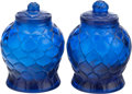 Asian:Chinese, A PAIR OF CHINESE PEKING GLASS COVERED VASES. Marks: (chop marks).5-1/2 inches high (14.0 cm). ... (Total: 2 Items)
