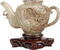 Asian:Chinese, A CHINESE JADE TEAPOT WITH STAND. 3-3/4 inches high (9.5 cm)(without stand). ...