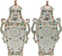 A PAIR OF CHINESE EXPORT PORCELAIN COVERED VASES 18 inches high (45.7 cm)